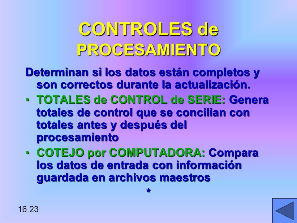 16.23 CONTROLES de PROCESAMIENTO Determinan si los datos están completos y son correctos durante la actualización.
