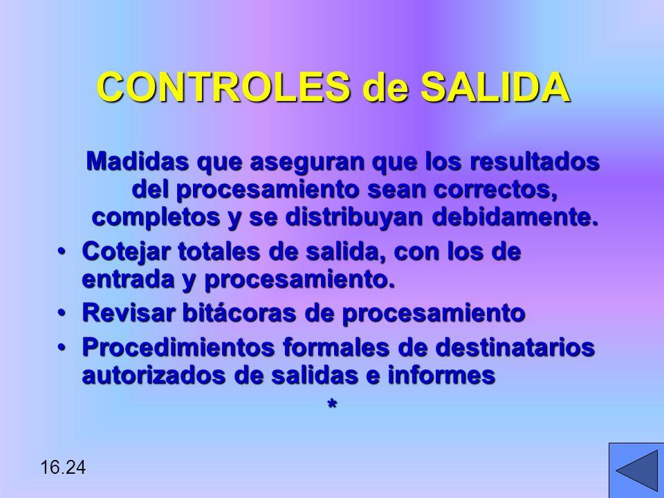 16.24 CONTROLES de SALIDA Madidas que aseguran que los resultados del procesamiento sean correctos, completos y se distribuyan debidamente.