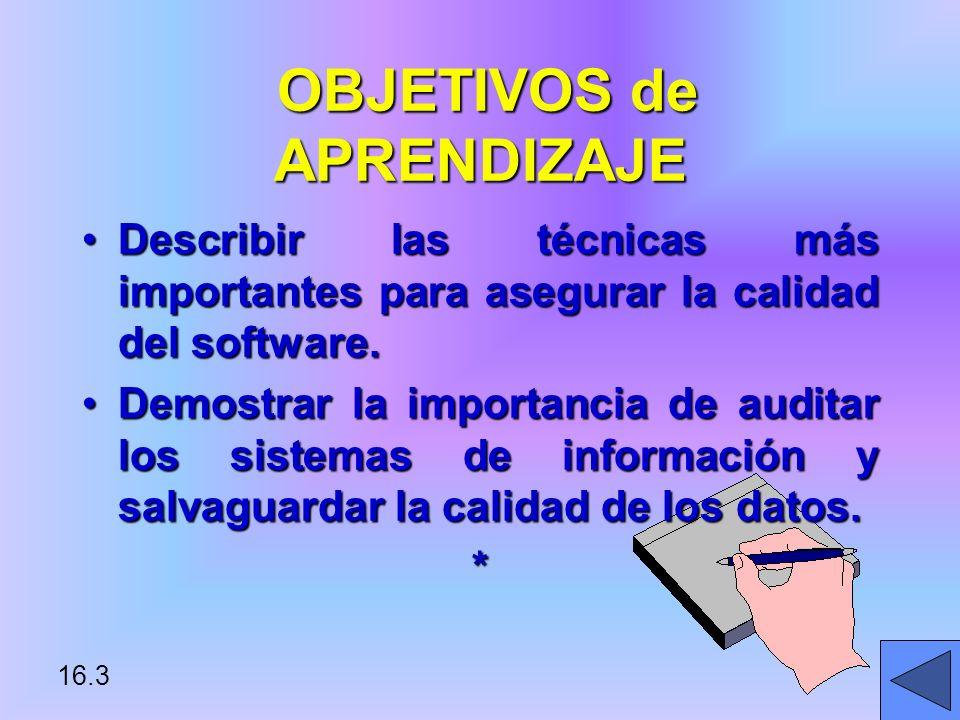 16.3 OBJETIVOS de APRENDIZAJE OBJETIVOS de APRENDIZAJE Describir las técnicas más importantes para asegurar la calidad del software.Describir las técnicas más importantes para asegurar la calidad del software.