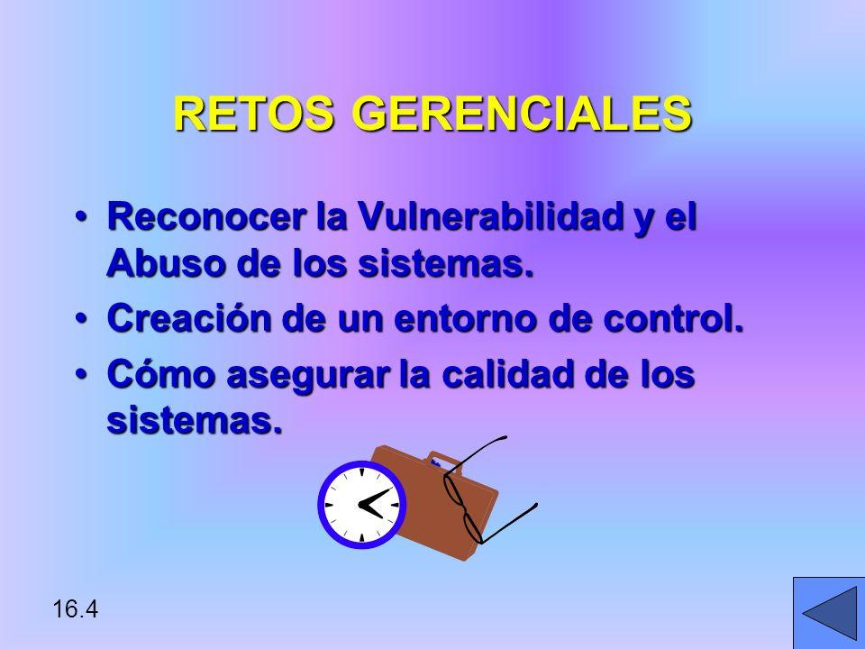 16.4 RETOS GERENCIALES Reconocer la Vulnerabilidad y el Abuso de los sistemas.Reconocer la Vulnerabilidad y el Abuso de los sistemas.
