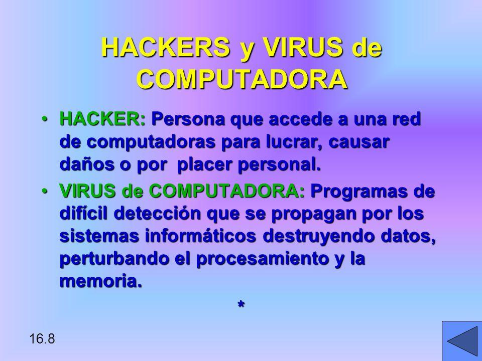 16.8 HACKER: Persona que accede a una red de computadoras para lucrar, causar daños o por placer personal.HACKER: Persona que accede a una red de computadoras para lucrar, causar daños o por placer personal.