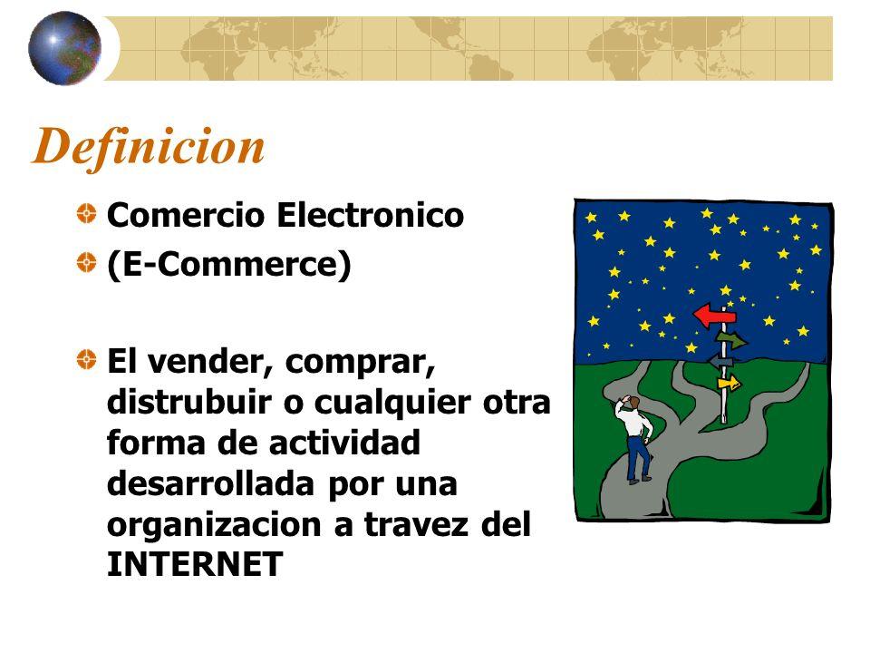 Definicion Comercio Electronico (E-Commerce) El vender, comprar, distrubuir o cualquier otra forma de actividad desarrollada por una organizacion a tr