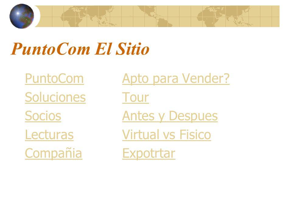 PuntoCom El Sitio PuntoCom Soluciones Socios Lecturas Compañia Apto para Vender? Tour Antes y Despues Virtual vs Fisico Expotrtar