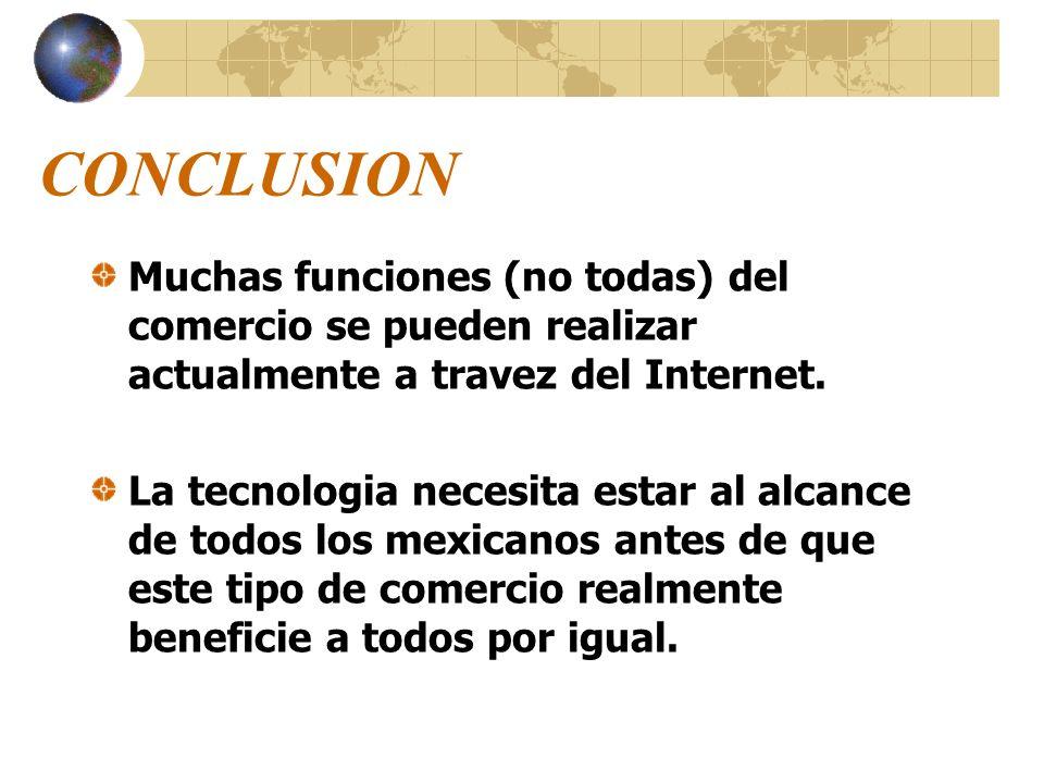 CONCLUSION Muchas funciones (no todas) del comercio se pueden realizar actualmente a travez del Internet. La tecnologia necesita estar al alcance de t