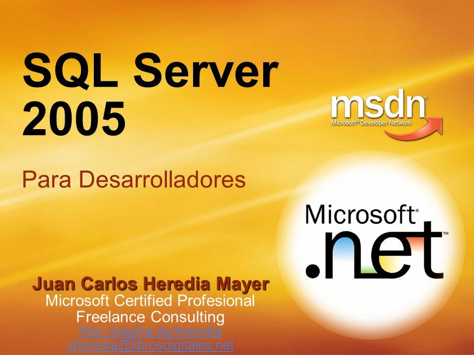SQL Server 2005 Para Desarrolladores Juan Carlos Heredia Mayer Microsoft Certified Profesional Freelance Consulting http://pagina.de/jheredia Jheredia