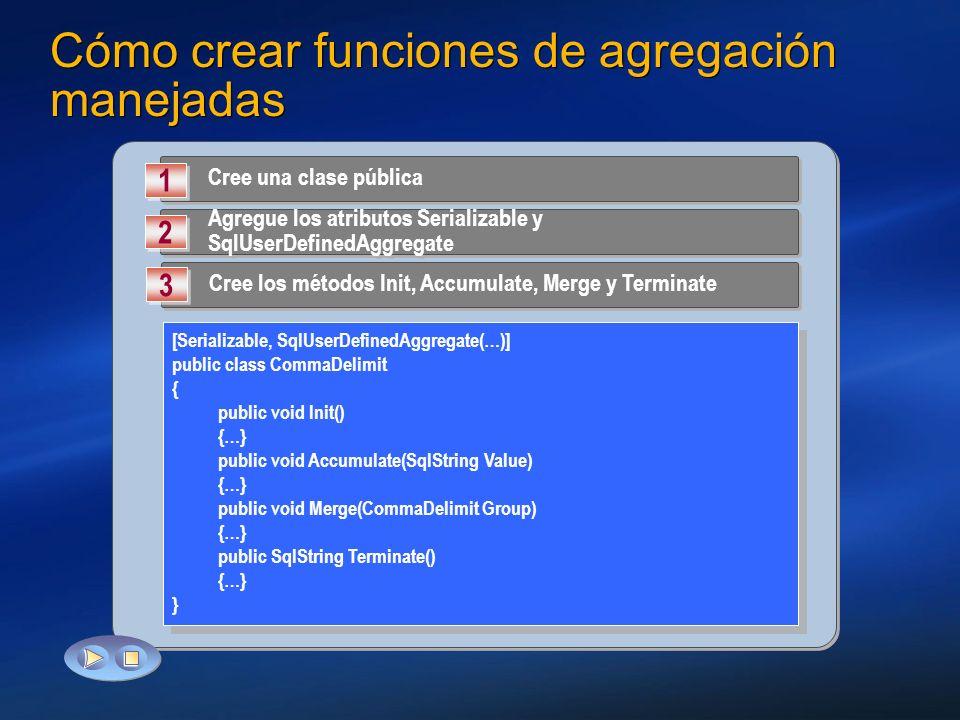 Cómo crear funciones de agregación manejadas Cree una clase pública 1 1 Agregue los atributos Serializable y SqlUserDefinedAggregate 2 2 Cree los méto