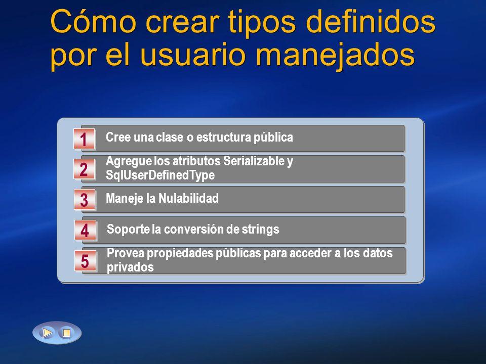 Cómo crear tipos definidos por el usuario manejados Cree una clase o estructura pública 1 1 Agregue los atributos Serializable y SqlUserDefinedType 2