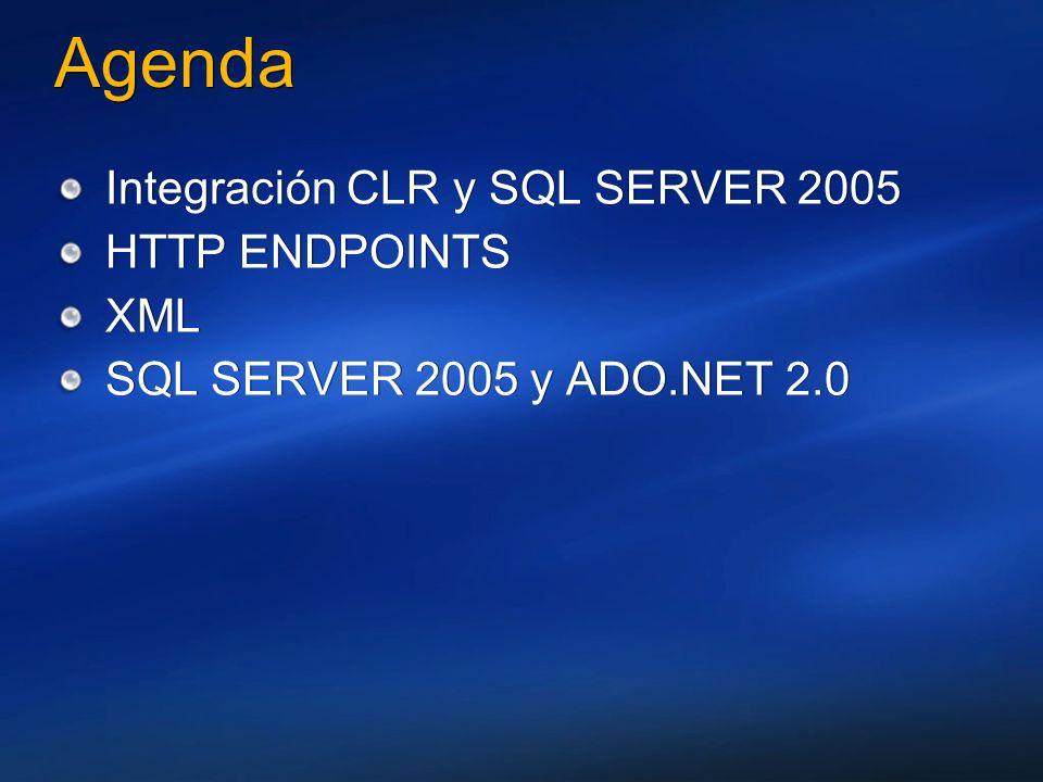 Agenda Integración CLR y SQL SERVER 2005 HTTP ENDPOINTS XML SQL SERVER 2005 y ADO.NET 2.0 Integración CLR y SQL SERVER 2005 HTTP ENDPOINTS XML SQL SER