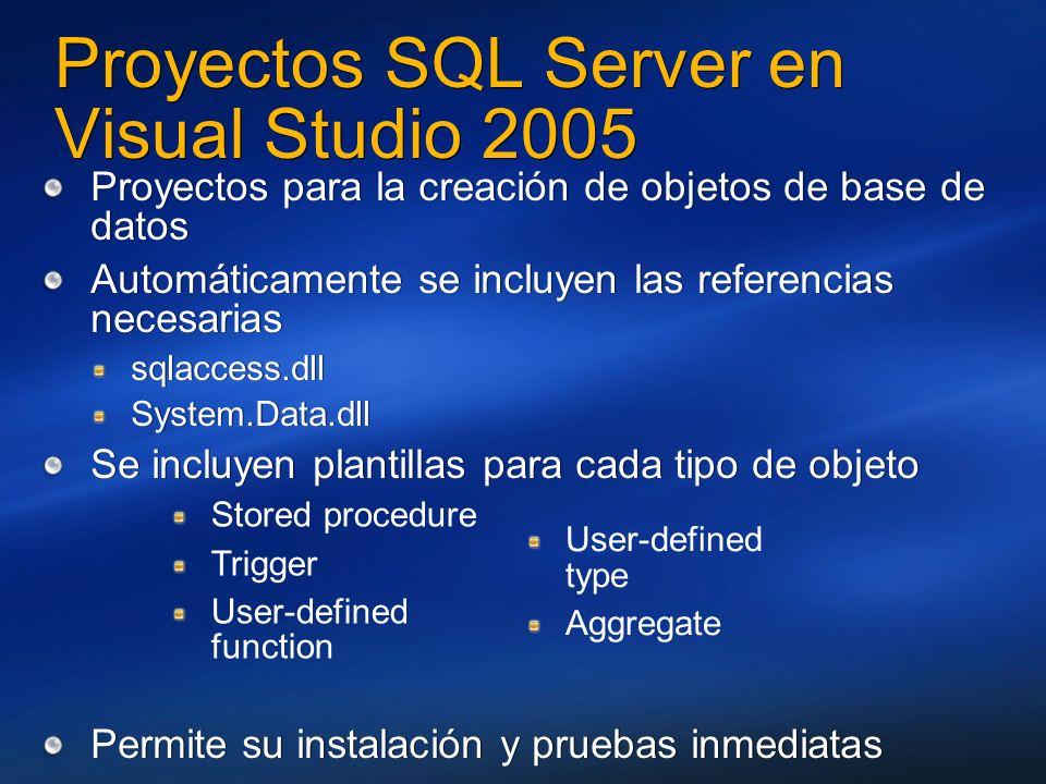 Proyectos SQL Server en Visual Studio 2005 Proyectos para la creación de objetos de base de datos Automáticamente se incluyen las referencias necesari