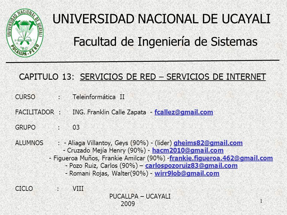 1 CURSO : Teleinformática II FACILITADOR :ING. Franklin Calle Zapata - fcallez@gmail.com GRUPO :03 ALUMNOS : - Aliaga Villantoy, Geys (90%) - (lider)