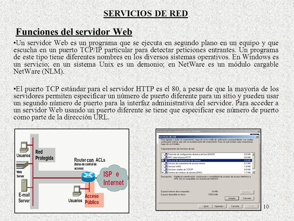10 Un servidor Web es un programa que se ejecuta en segundo plano en un equipo y que escucha en un puerto TCP/IP particular para detectar peticiones e