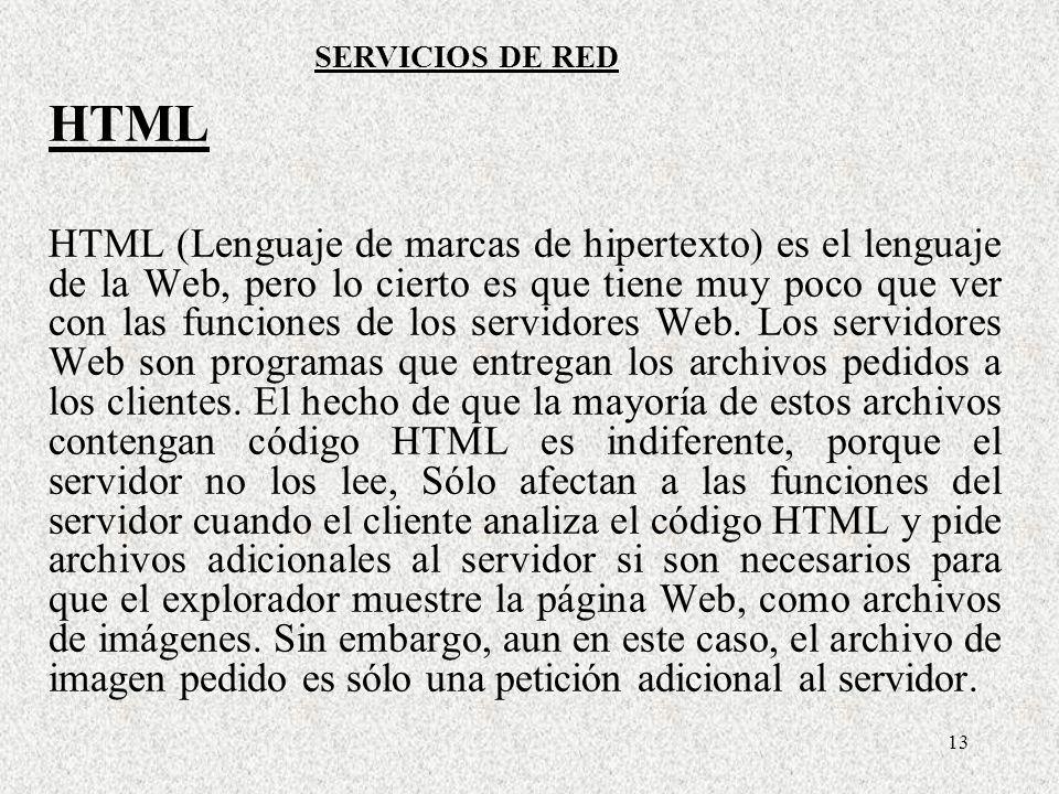 13 HTML HTML (Lenguaje de marcas de hipertexto) es el lenguaje de la Web, pero lo cierto es que tiene muy poco que ver con las funciones de los servid