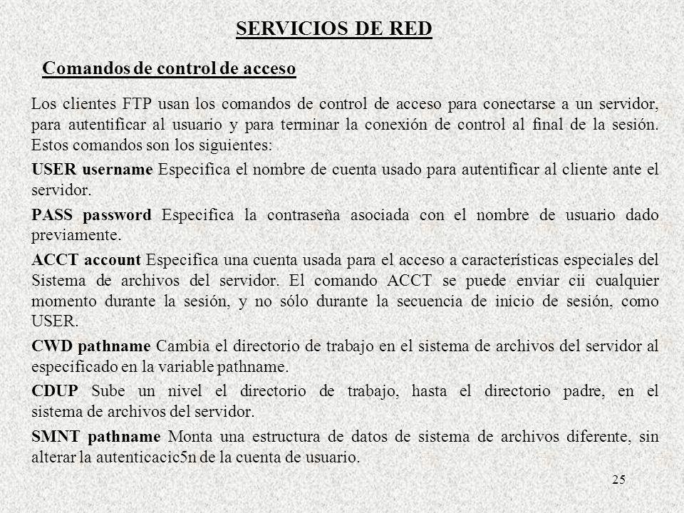 25 Los clientes FTP usan los comandos de control de acceso para conectarse a un servidor, para autentificar al usuario y para terminar la conexión de