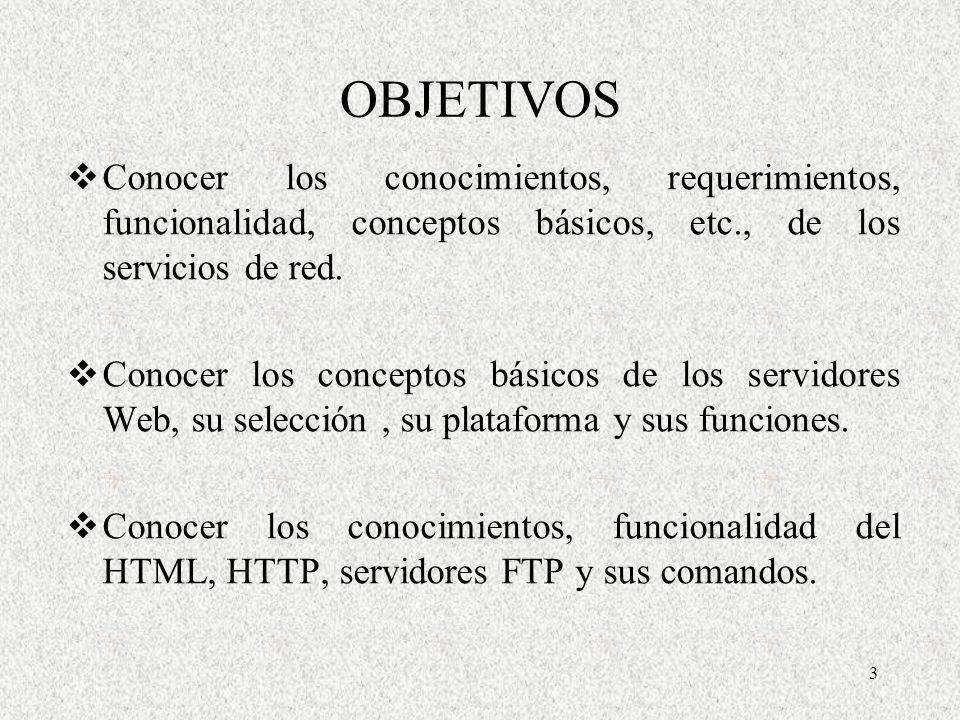 3 OBJETIVOS Conocer los conocimientos, requerimientos, funcionalidad, conceptos básicos, etc., de los servicios de red. Conocer los conceptos básicos