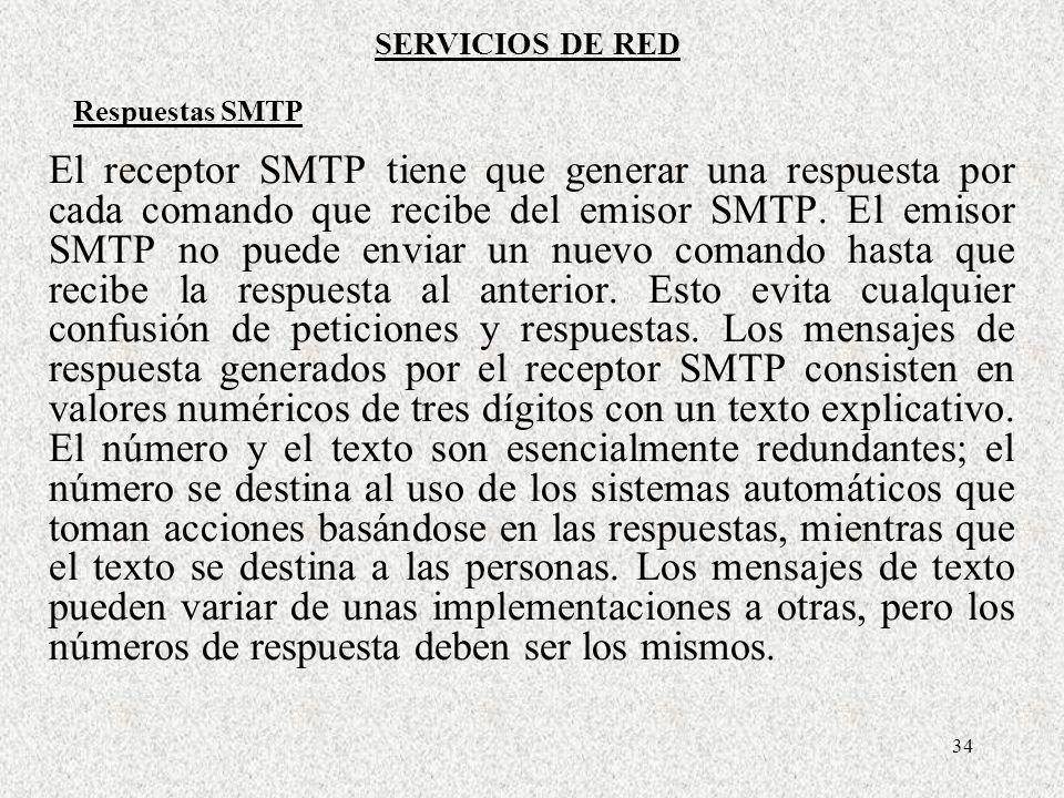 34 El receptor SMTP tiene que generar una respuesta por cada comando que recibe del emisor SMTP. El emisor SMTP no puede enviar un nuevo comando hasta
