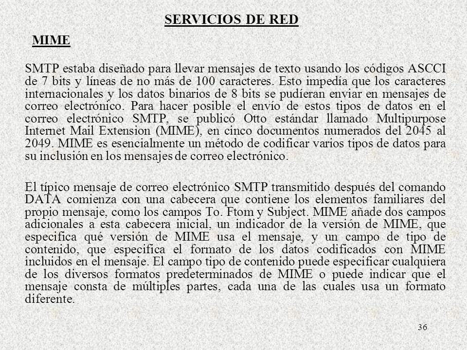 36 SMTP estaba diseñado para llevar mensajes de texto usando los códigos ASCCI de 7 bits y líneas de no más de 100 caracteres. Esto impedía que los ca