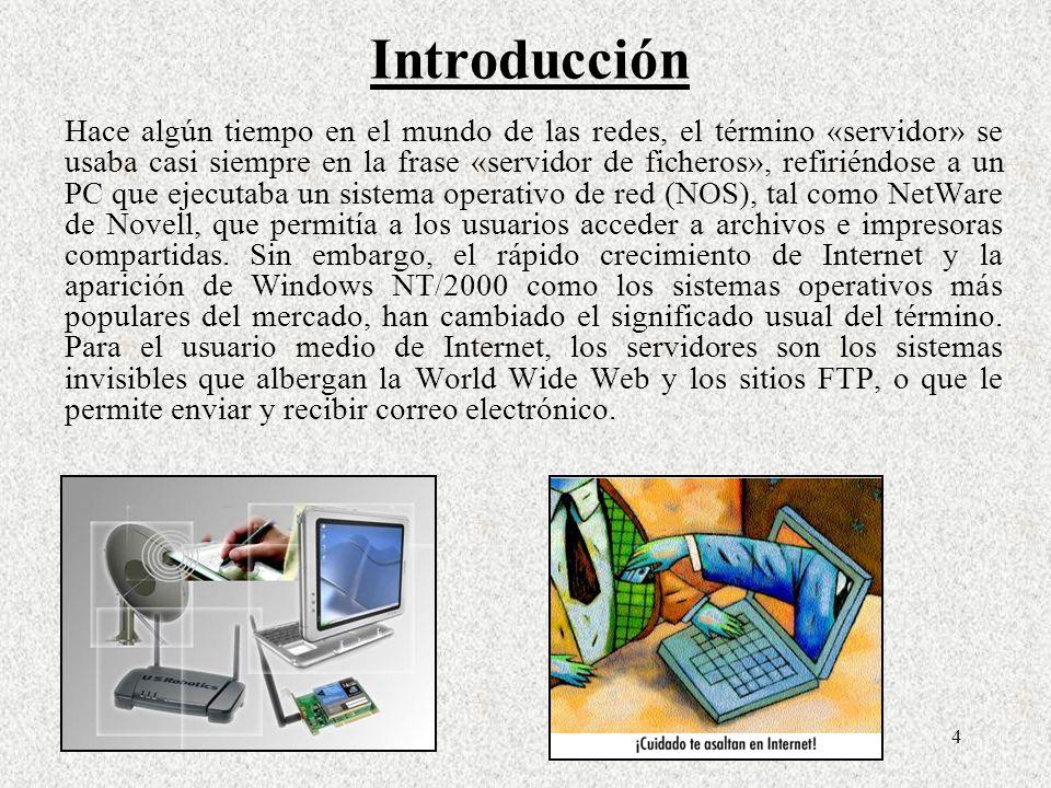 4 Introducción Hace algún tiempo en el mundo de las redes, el término «servidor» se usaba casi siempre en la frase «servidor de ficheros», refiriéndos