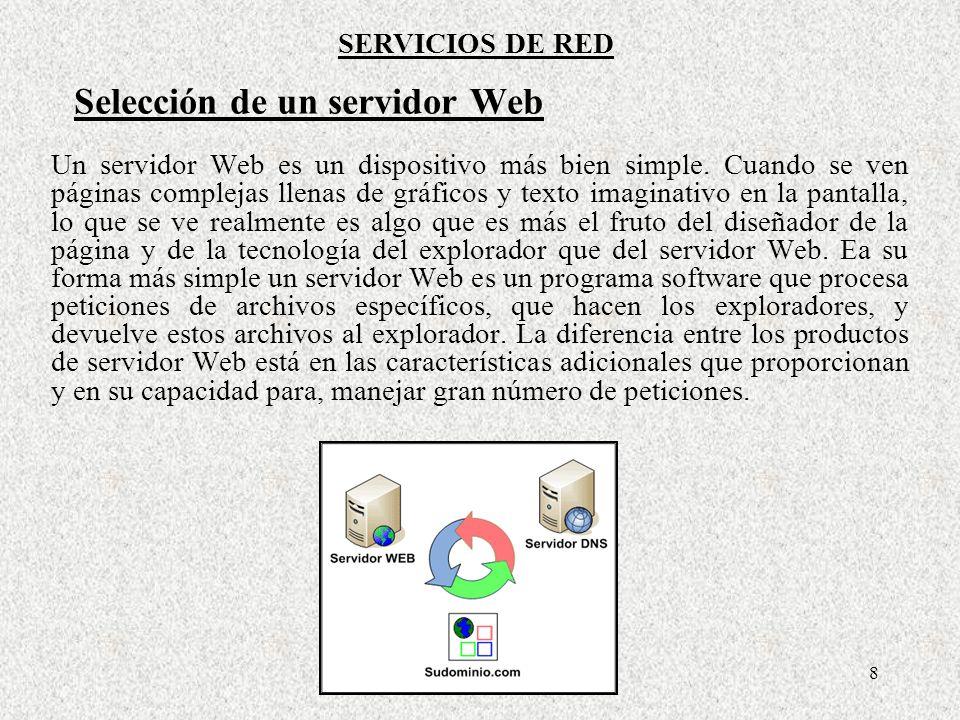 9 SERVICIOS DE RED Plataformas de servidor Web Un servidor Web no tiene que ser una máquina grande y cara.