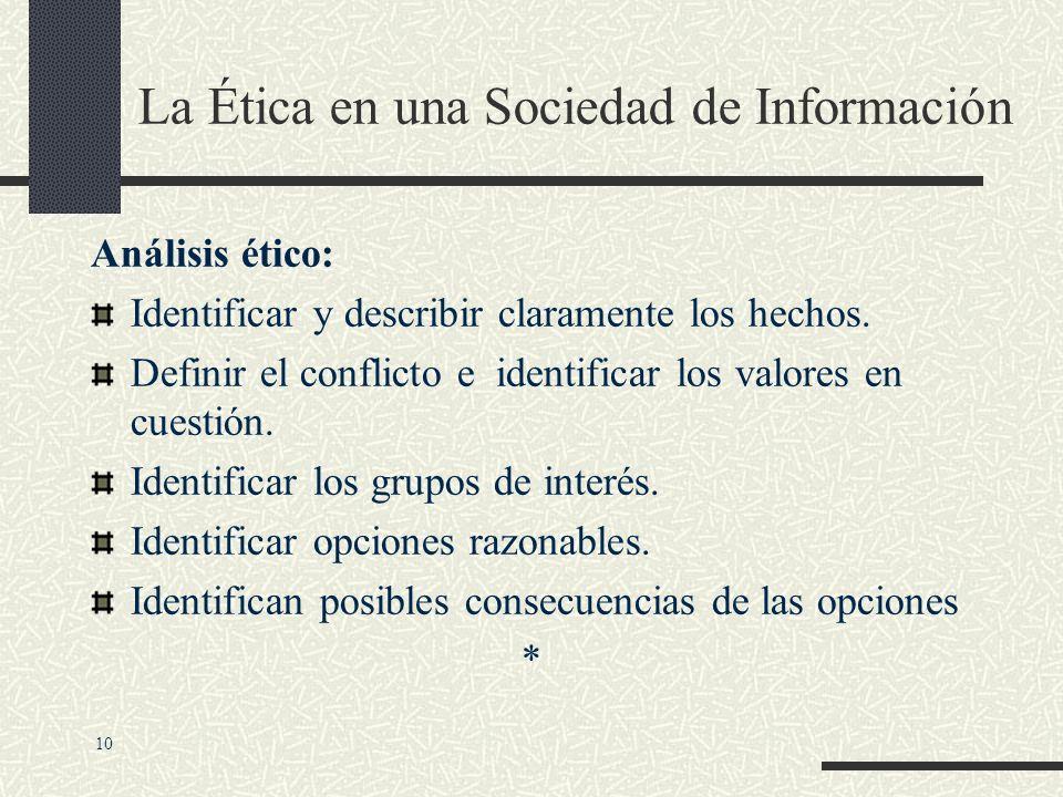 La Ética en una Sociedad de Información RESPONSABILIDAD PERSONAL: Aceptar los posibles costos, deberes y obligaciones de las decisiones que uno toma.
