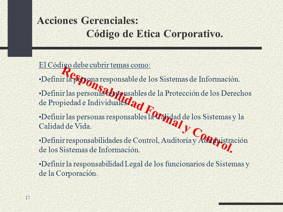 Acciones Gerenciales: Código de Etica Corporativo. Derechos y Obligaciones de Propiedad. El Código debe cubrir temas como: Licencias de Software Propi