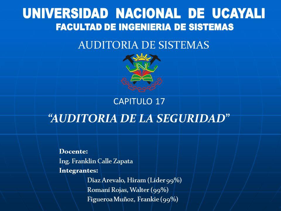 Docente: Ing. Franklin Calle Zapata Integrantes: Diaz Arevalo, Hiram (Líder 99%) Romaní Rojas, Walter (99%) Figueroa Muñoz, Frankie (99%) AUDITORIA DE