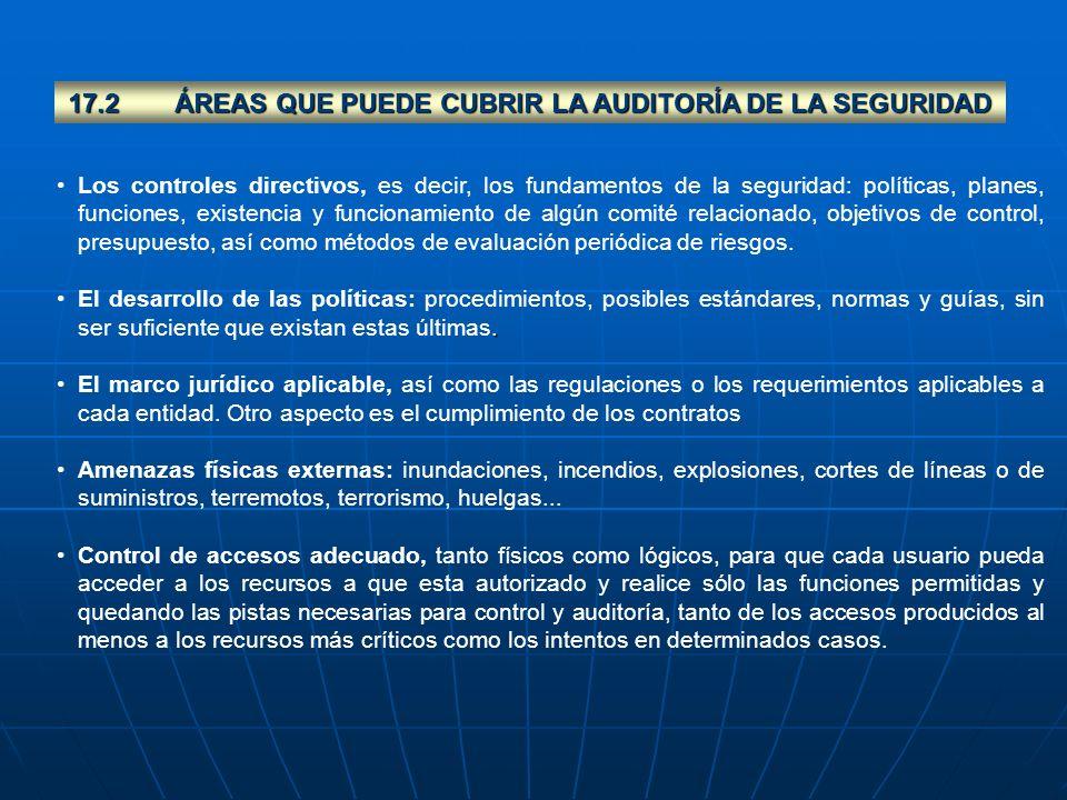 17.2ÁREAS QUE PUEDE CUBRIR LA AUDITORÍA DE LA SEGURIDAD Los controles directivos, es decir, los fundamentos de la seguridad: políticas, planes, funcio