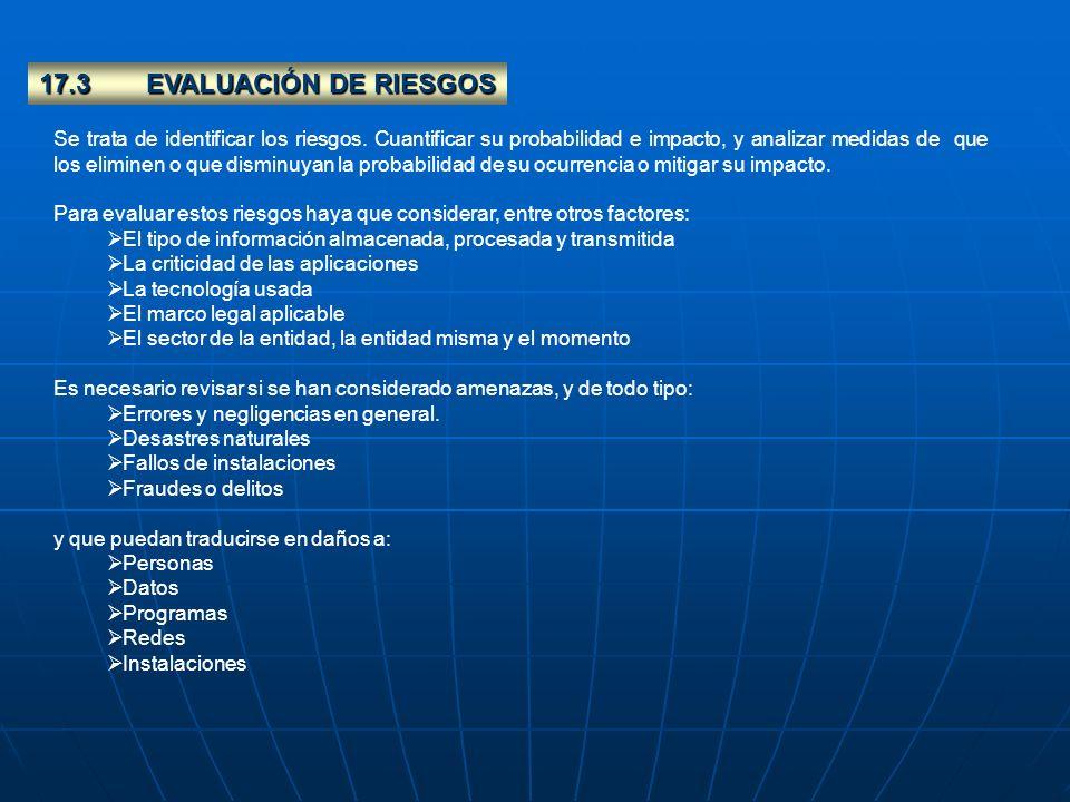 17.3EVALUACIÓN DE RIESGOS Se trata de identificar los riesgos. Cuantificar su probabilidad e impacto, y analizar medidas de que los eliminen o que dis