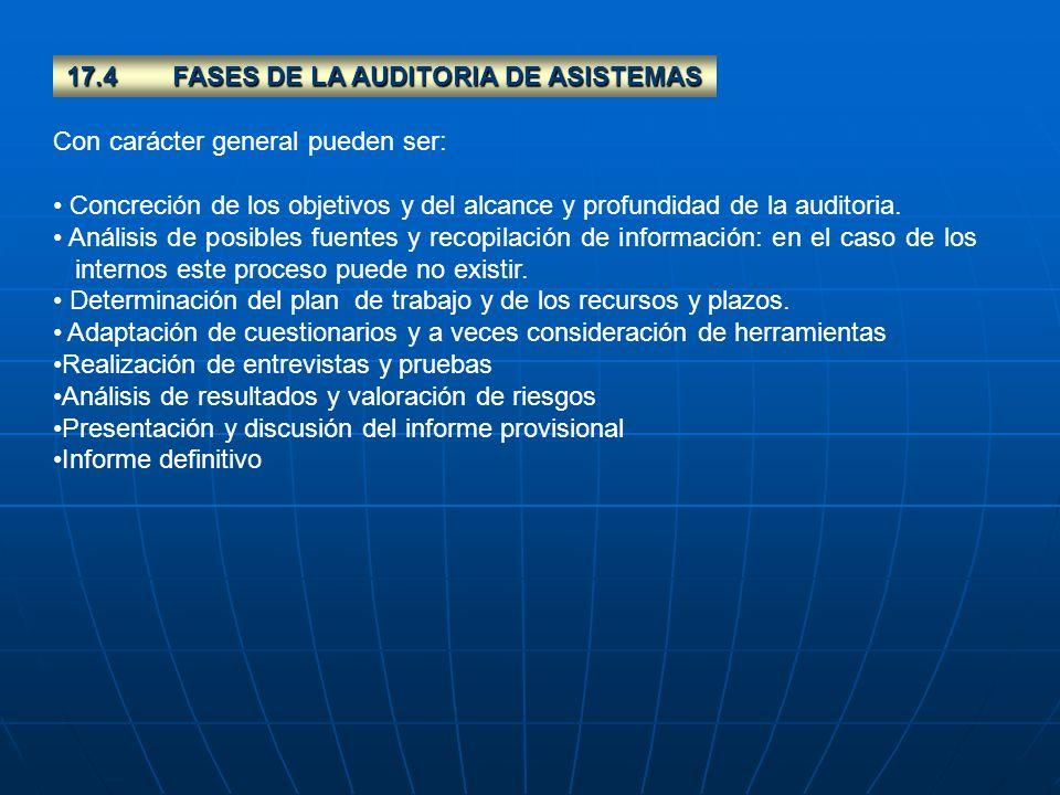 17.4FASES DE LA AUDITORIA DE ASISTEMAS Con carácter general pueden ser: Concreción de los objetivos y del alcance y profundidad de la auditoria. Análi