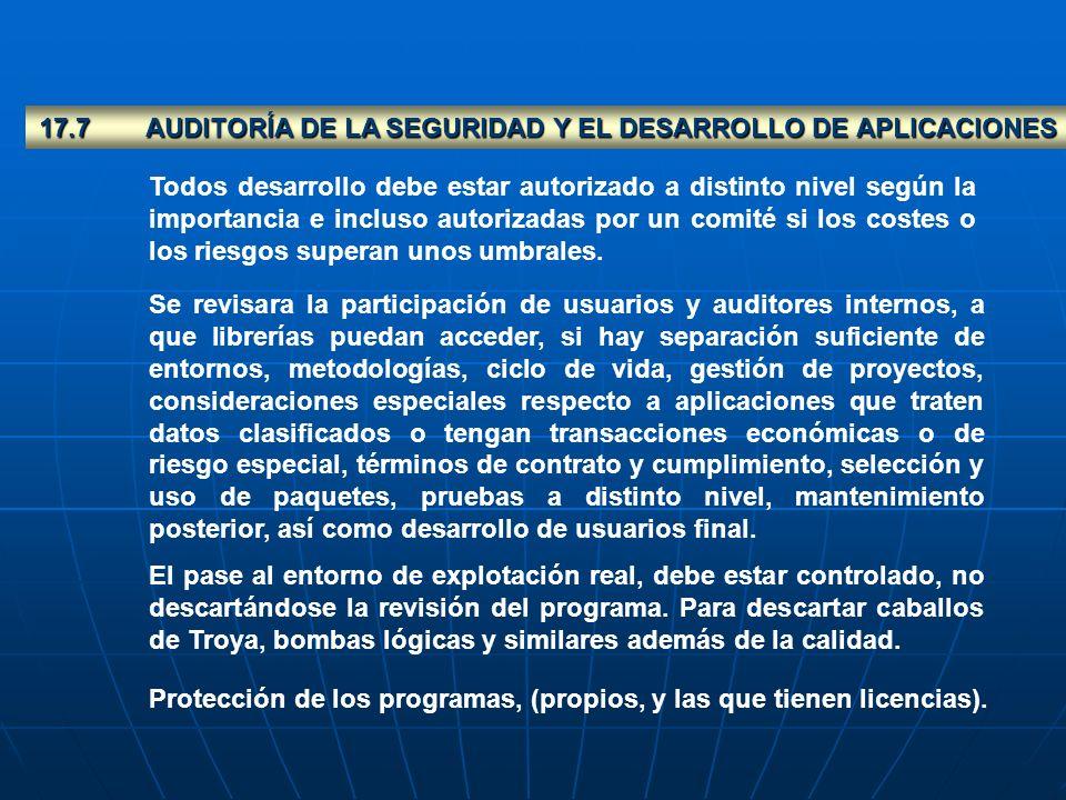 17.7AUDITORÍA DE LA SEGURIDAD Y EL DESARROLLO DE APLICACIONES Todos desarrollo debe estar autorizado a distinto nivel según la importancia e incluso a