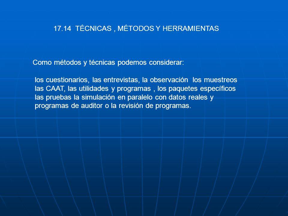 17.14 TÉCNICAS, MÉTODOS Y HERRAMIENTAS Como métodos y técnicas podemos considerar: los cuestionarios, las entrevistas, la observación los muestreos la