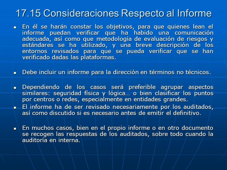 17.15 Consideraciones Respecto al Informe En él se harán constar los objetivos, para que quienes lean el informe puedan verificar que ha habido una co
