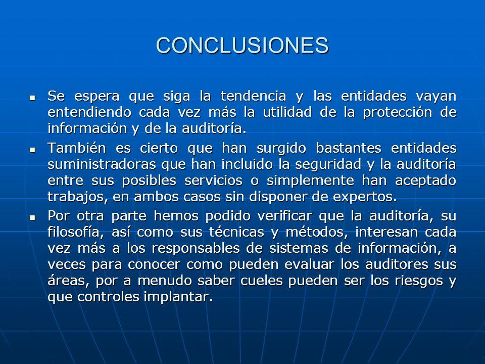 CONCLUSIONES Se espera que siga la tendencia y las entidades vayan entendiendo cada vez más la utilidad de la protección de información y de la audito