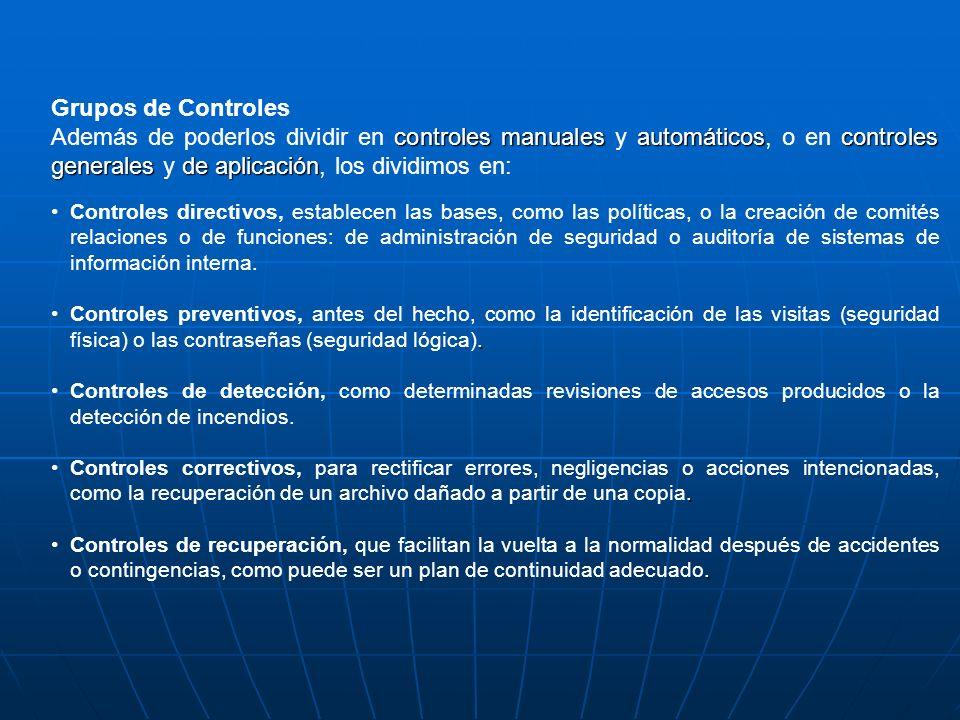 Grupos de Controles controles manualesautomáticoscontroles generalesdeaplicación Además de poderlos dividir en controles manuales y automáticos, o en