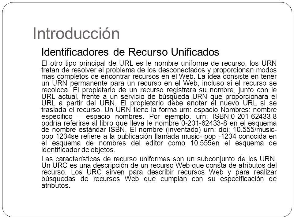 Introducción Identificadores de Recurso Unificados El otro tipo principal de URL es le nombre uniforme de recurso, los URN tratan de resolver el probl