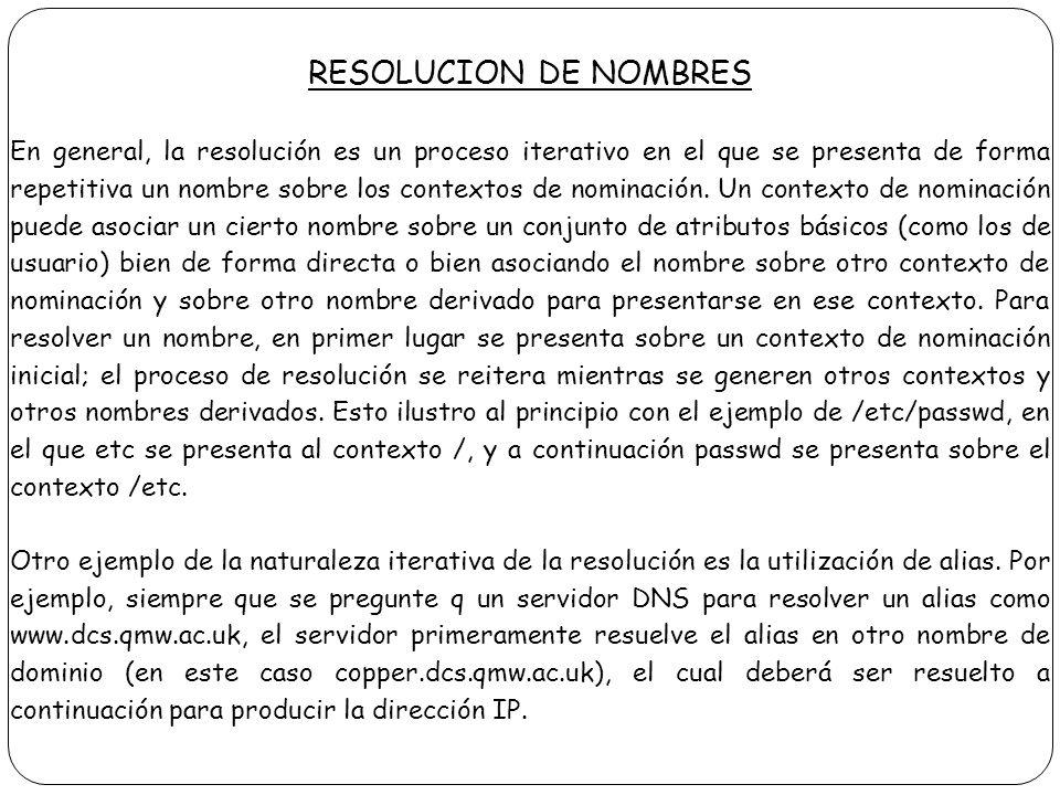 RESOLUCION DE NOMBRES En general, la resolución es un proceso iterativo en el que se presenta de forma repetitiva un nombre sobre los contextos de nom