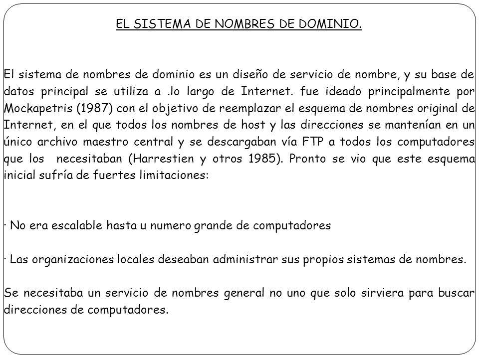 EL SISTEMA DE NOMBRES DE DOMINIO. El sistema de nombres de dominio es un diseño de servicio de nombre, y su base de datos principal se utiliza a.lo la