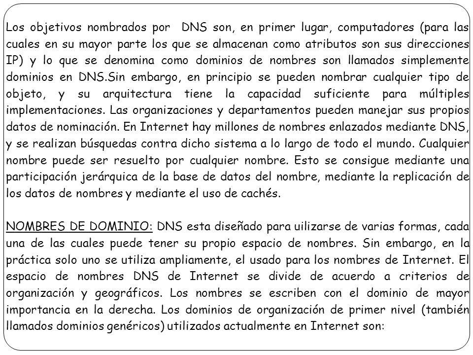 Los objetivos nombrados por DNS son, en primer lugar, computadores (para las cuales en su mayor parte los que se almacenan como atributos son sus dire