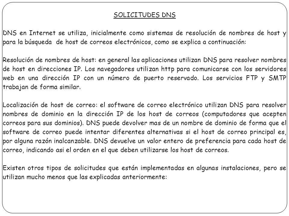 SOLICITUDES DNS DNS en Internet se utiliza, inicialmente como sistemas de resolución de nombres de host y para la búsqueda de host de correos electrón