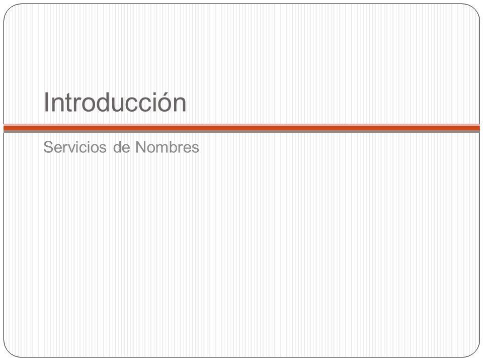 Introducción En un sistema distribuido los nombres se utilizan para hacer referencia a una amplia variedad de recursos como computadores, servicios, objetos remotos y archivos.