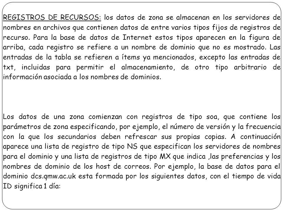 REGISTROS DE RECURSOS: los datos de zona se almacenan en los servidores de nombres en archivos que contienen datos de entre varios tipos fijos de regi