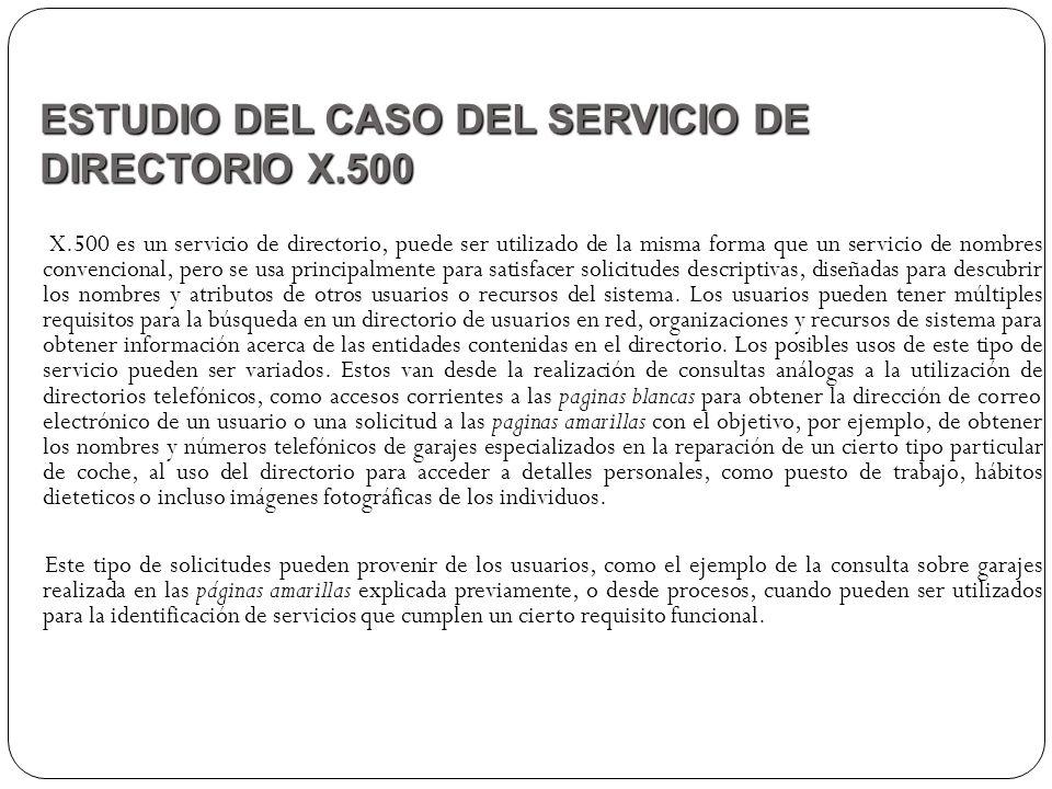 X.500 es un servicio de directorio, puede ser utilizado de la misma forma que un servicio de nombres convencional, pero se usa principalmente para sat