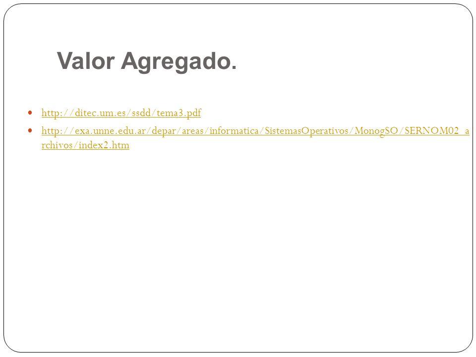 Valor Agregado. http://ditec.um.es/ssdd/tema3.pdf http://exa.unne.edu.ar/depar/areas/informatica/SistemasOperativos/MonogSO/SERNOM02_a rchivos/index2.