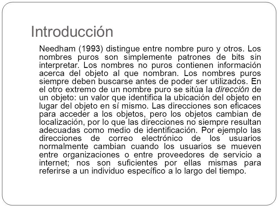 Introducción Needham (1993) distingue entre nombre puro y otros. Los nombres puros son simplemente patrones de bits sin interpretar. Los nombres no pu