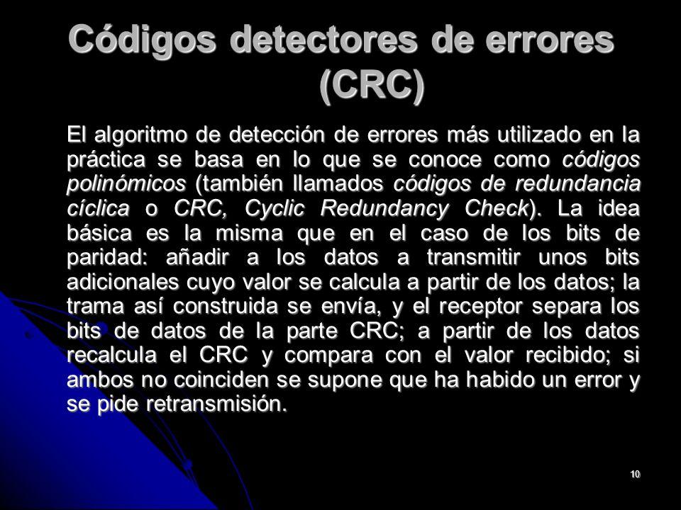 10 Códigos detectores de errores (CRC) El algoritmo de detección de errores más utilizado en la práctica se basa en lo que se conoce como códigos polinómicos (también llamados códigos de redundancia cíclica o CRC, Cyclic Redundancy Check).