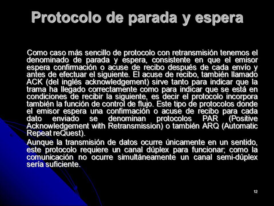 12 Protocolo de parada y espera Como caso más sencillo de protocolo con retransmisión tenemos el denominado de parada y espera, consistente en que el emisor espera confirmación o acuse de recibo después de cada envío y antes de efectuar el siguiente.