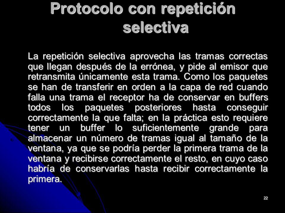 22 Protocolo con repetición selectiva La repetición selectiva aprovecha las tramas correctas que llegan después de la errónea, y pide al emisor que retransmita únicamente esta trama.