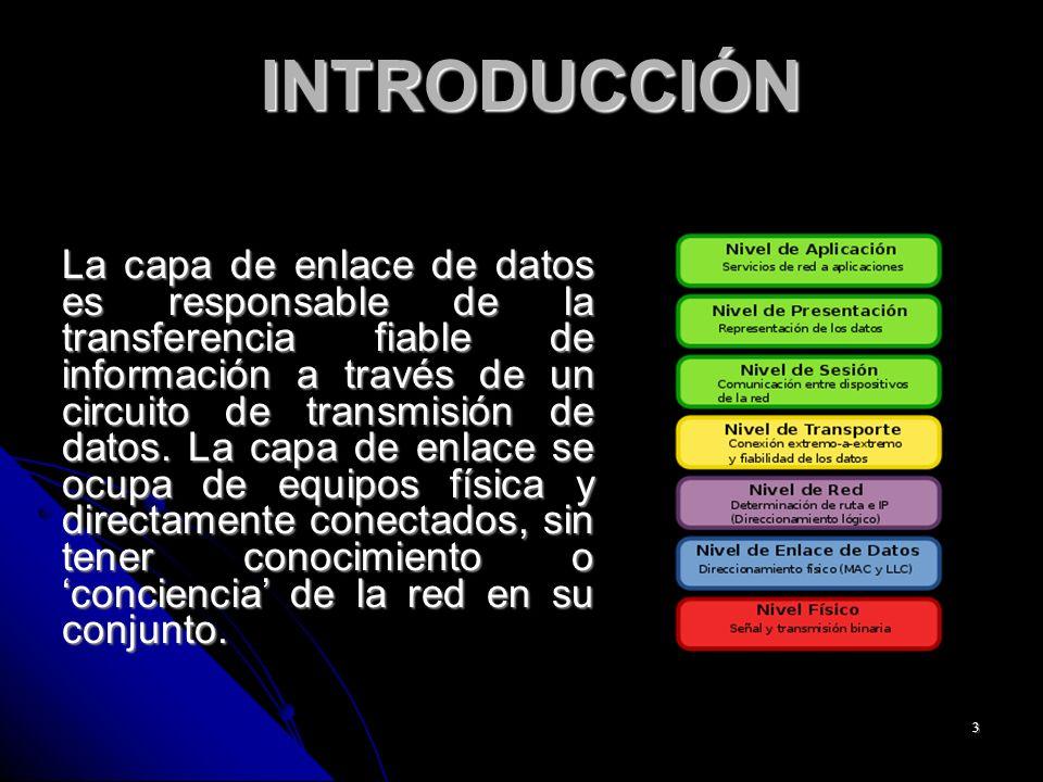 3 INTRODUCCIÓN INTRODUCCIÓN La capa de enlace de datos es responsable de la transferencia fiable de información a través de un circuito de transmisión de datos.