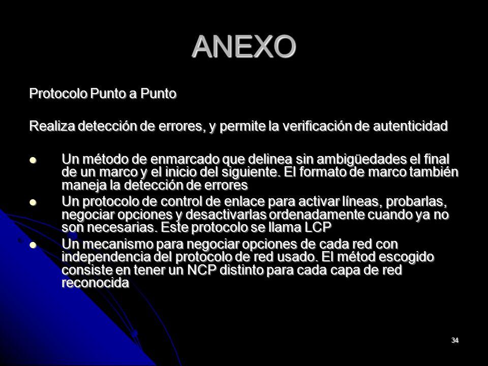 34 ANEXO Protocolo Punto a Punto Realiza detección de errores, y permite la verificación de autenticidad Un método de enmarcado que delinea sin ambigüedades el final de un marco y el inicio del siguiente.