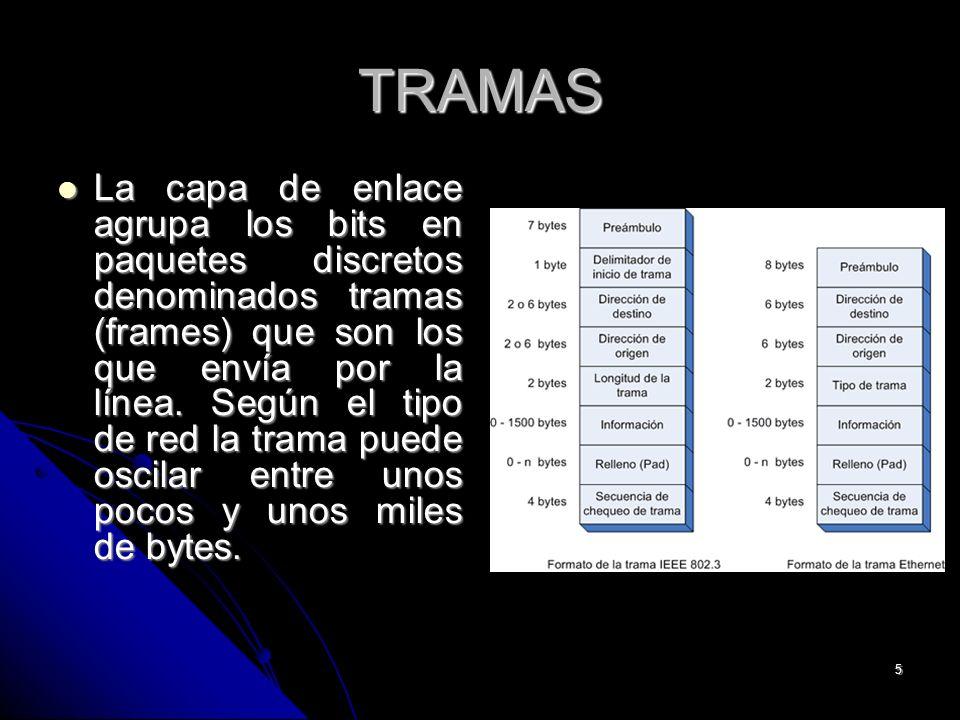 5 TRAMAS La capa de enlace agrupa los bits en paquetes discretos denominados tramas (frames) que son los que envía por la línea.