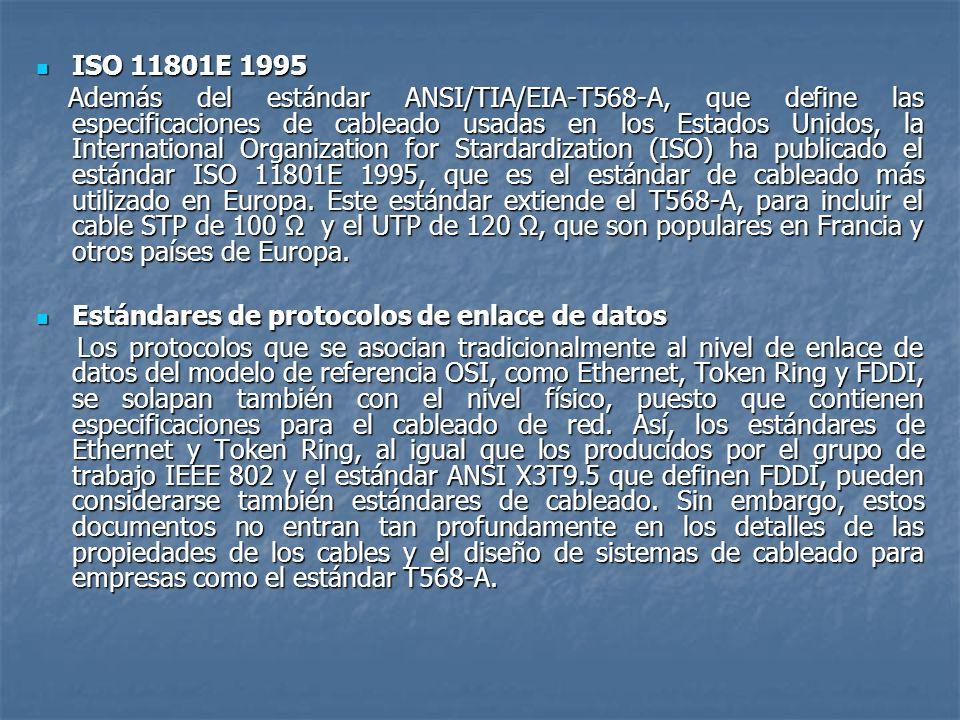 ISO 11801E 1995 ISO 11801E 1995 Además del estándar ANSI/TIA/EIA-T568-A, que define las especificaciones de cableado usadas en los Estados Unidos, la